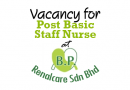 Vacancy for Post Basic Staff Nurse at BP Renalcare Sdn Bhd