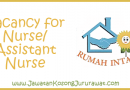Vacancy for Nurse at Pusat Jagaan Warga Emas Intan