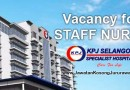 Vacancy for Staff Nurse at KPJ Selangor Specialist Hospital