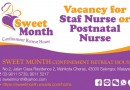 Vacancy for Staff Nurse or Postnatal Nurse at Sweet Month Confinement Retreat House
